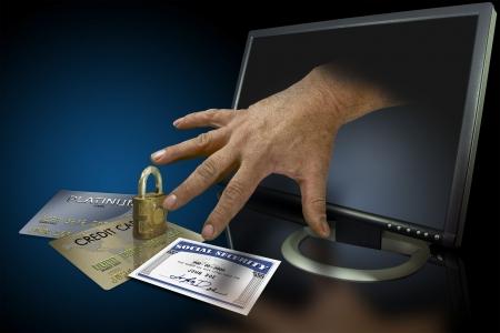 identity thieves: El robo de identidad en la web con tarjetas de cr�dito y de la seguridad social Foto de archivo