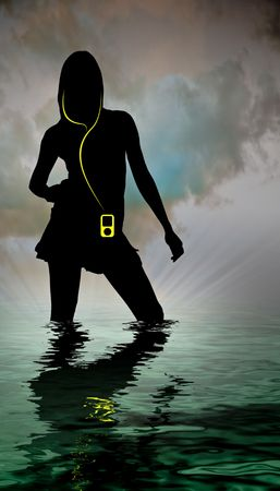 horrizon: a womans silhouette in a body of water with MP3 player