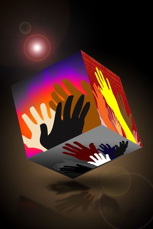 Hands of varying colors raised in unity, power or protest on cube