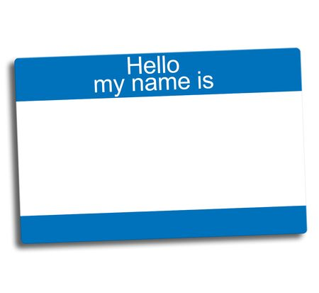 blue and white blank group ID tag Stock Photo