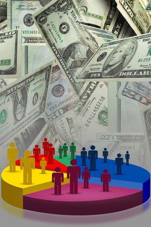 Typische verkoop of vooruitgang grafiek instellen geld achtergrond