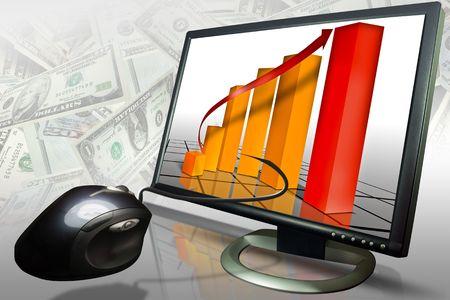 Typische verkoop of vooruitgang grafiek ingesteld op een monitor