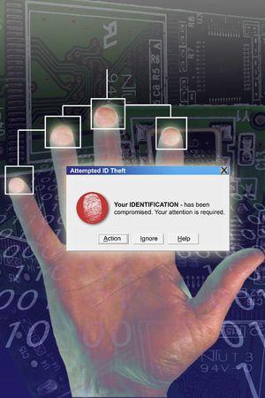 identity thieves: Alerta de seguridad pc con sistema de palma y huellas dactilares  Foto de archivo