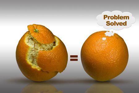 understanding: Concept image with two oranges to depict solutions