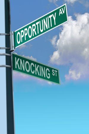 Business-slogans op de weg en straat tekenen teken afrit Stockfoto