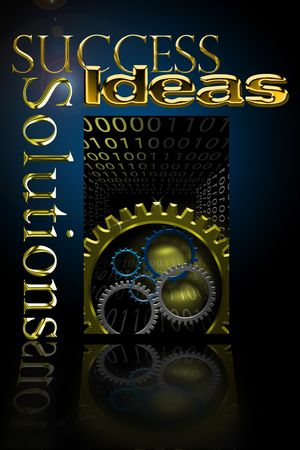 Logo with gold Solutions, Success, and Ideas back lit Stock Photo