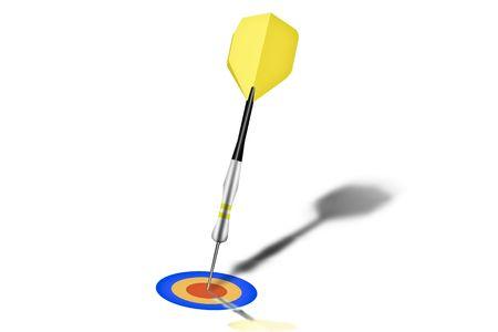 Yellow and black dart stuck on table with bullseye photo