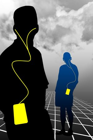 horrizon: two figures standing on a grid in perspective with mp3 players