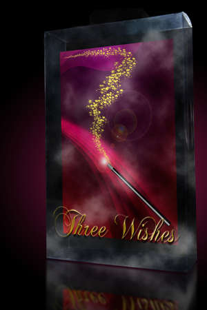 three wishes: Three wishes with magic wand enclosed is a clear case Stock Photo