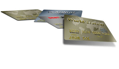typical plastic credit cards with expiration dates lying flat Stock fotó
