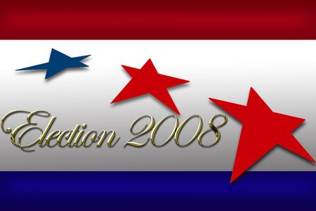 senate race: Election day vote banner with reflective gold type