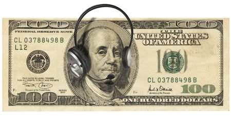 bank records: A one hundred dollar bill with Franklyn wearing headphones Stock Photo