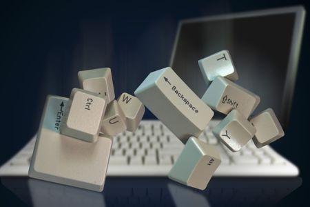 telecommunicate: Computer keyboard keys falling keyboad in back