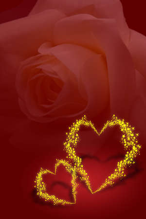 affair: Golden valentine hearts with tiny stars on red background
