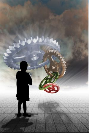 Child looking into the horrizon with perspective and gears over head Stock Photo