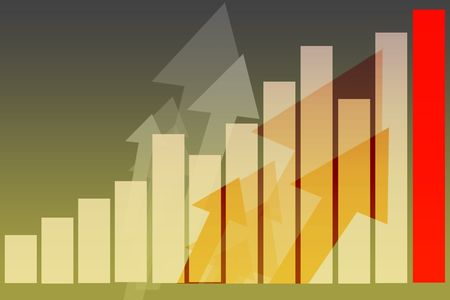 Business bar graph on white with arrow indicators photo