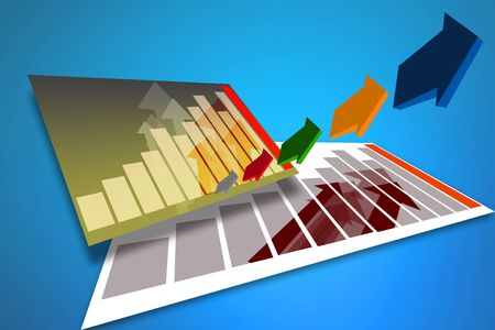 Business bar graph on blue with arrow indicators photo