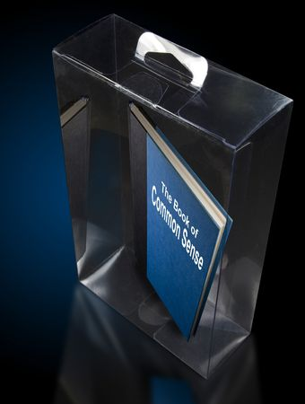 Glass enclosure with a book inside titled Common Sense photo