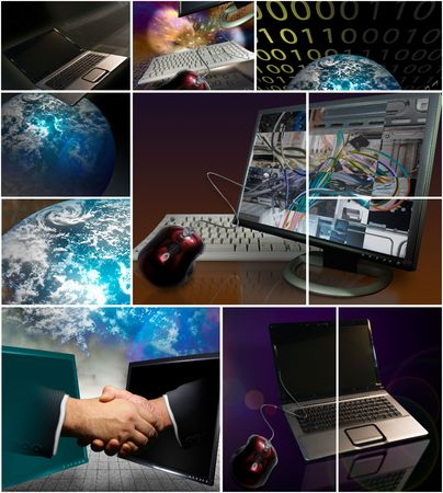 Collection of various hardware, business, and computer images Stock Photo