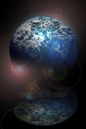 horison: Planet set on a horison plane with lights and shadows