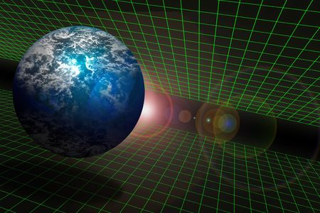 Planet displayed on a frame with grid perspective with lens flare photo