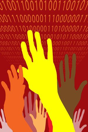 Three hands of varying color raised in unity, power or protest