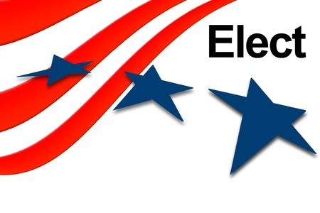 balloting: Election day vote banner with stars and stripes Stock Photo