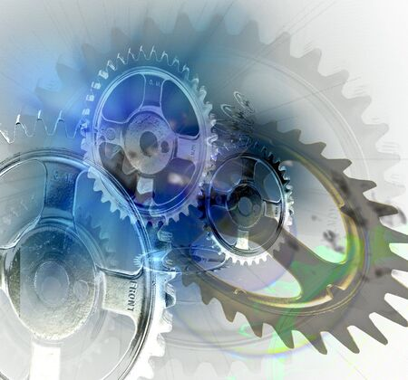 Several gears depicted composited over one another Stock Photo