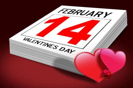赤の背景に表示されるバレンタインの日カレンダー 写真素材 - 2834721