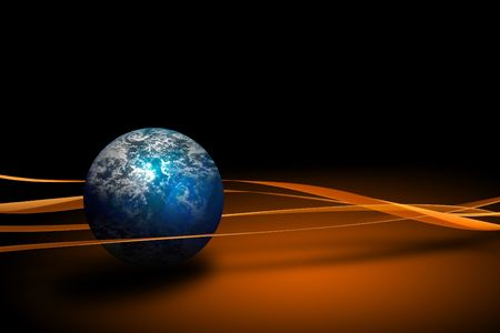 distortion: World globe planet on a blue and white background Stock Photo