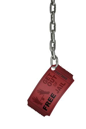 A FREE get out of jail ticket at the end of a chain Stock Photo - 2834588