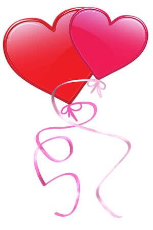 romance: Shinny valentine hearts as balloons with ribbon attached