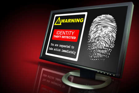 identification theft alert on a monitor with reflections