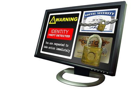 Monitor met kettingen en lock Identiteitsdiefstal op het scherm Stockfoto
