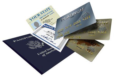 Verschillende vormen van het identiteits bewijs, krediet en paspoort  Stockfoto