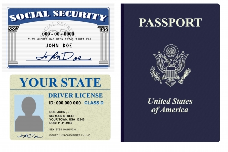 アイデンティティの免許証、社会保障、パスポートの様々 な形態 写真素材