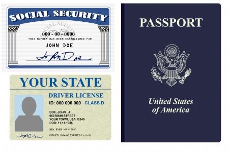 Diversas formas de identidad licencia, la seguridad social y el pasaporte  Foto de archivo - 2836558