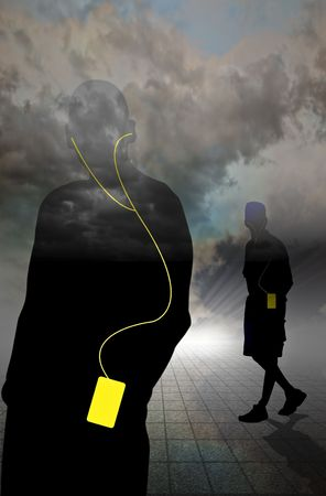 horrizon: Two walking in clouds wearing MP3 players and headphones