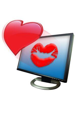 blown: Shinny valentine heart blown as a kiss in a monitor