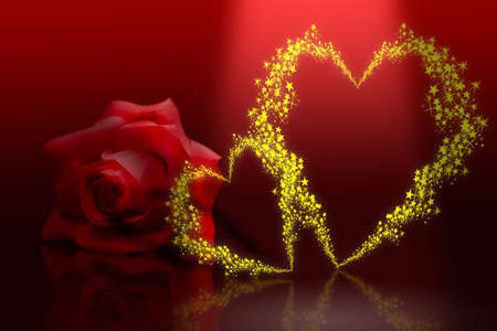 赤の背景に小さい星 々 に shinny 黄金バレンタイン ハート 写真素材 - 2834672