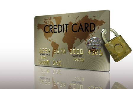 expire: typical plastic credit card with expiration date and lock