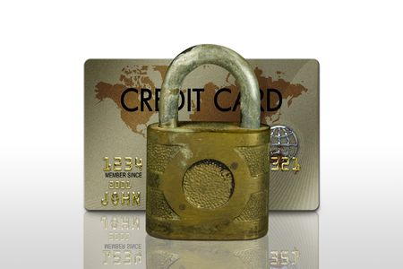 typical plastic credit card with expiration date and lock photo