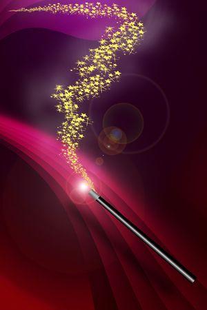 星と濃い赤の背景に魔法の杖
