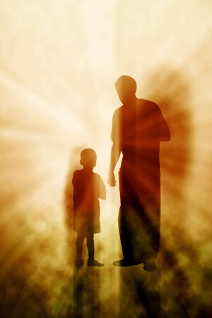 Two figures in front of light beams photo