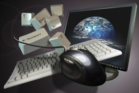 Computer muis en toetsenbord opgehangen met een planeet zichtbaar
