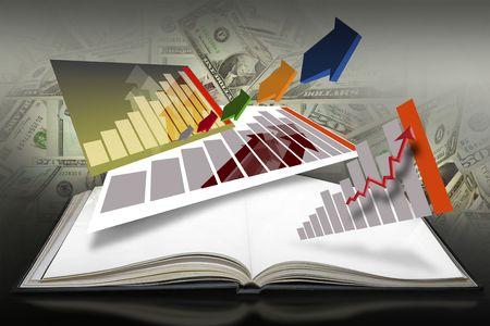 reference book: Libro abierto con gr�ficos de barra establecido sobre un fondo rojo
