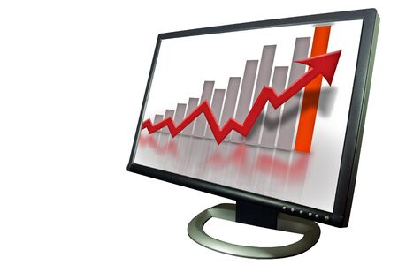 Financial bar chart showing gray bars and red arrow Stock Photo