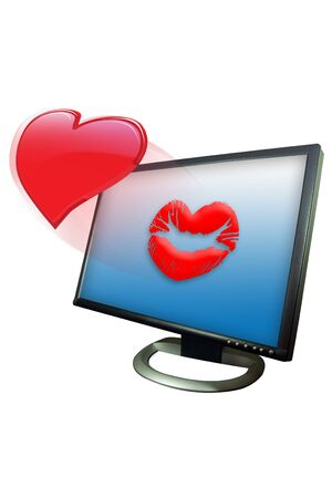 heart monitor: Shinny valentine heart blown as a kiss in a monitor