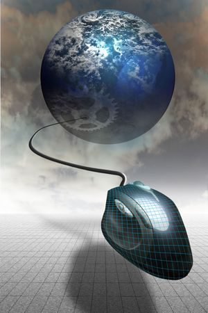 Computer mouse suspended on horizon with a planet visible Stock Photo