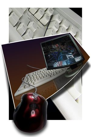 mouse and keyboard suspended over a white back ground photo